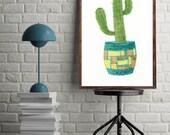 Cactus Print.  Modern Bot...