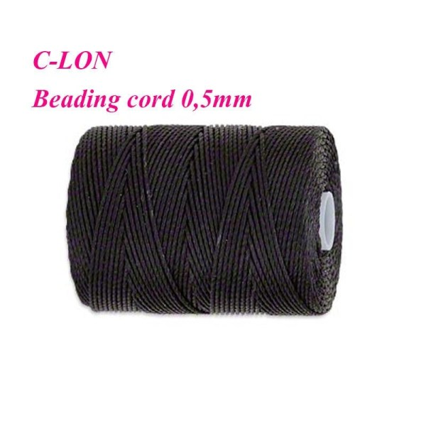 Lon Beading Cord 0 5mm. Black. 92 Yards 82 Meters