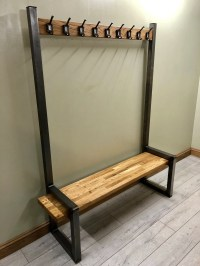 Industrial hallway steel bench with shoe / boot storage ...