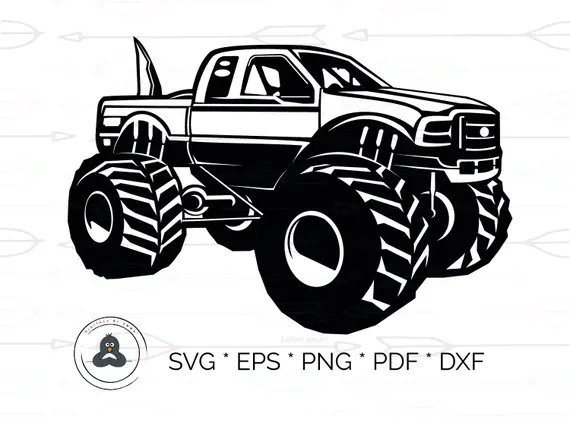 Download Monster Truck Silhouette SVG & Dxf Cutting Files for Cricut