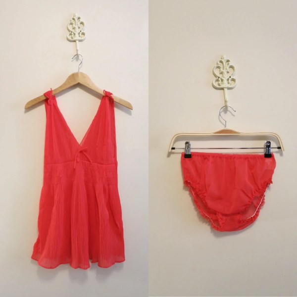Lingerie Set Sheer Red Grecian Romantic Panties Chiffon 1960s