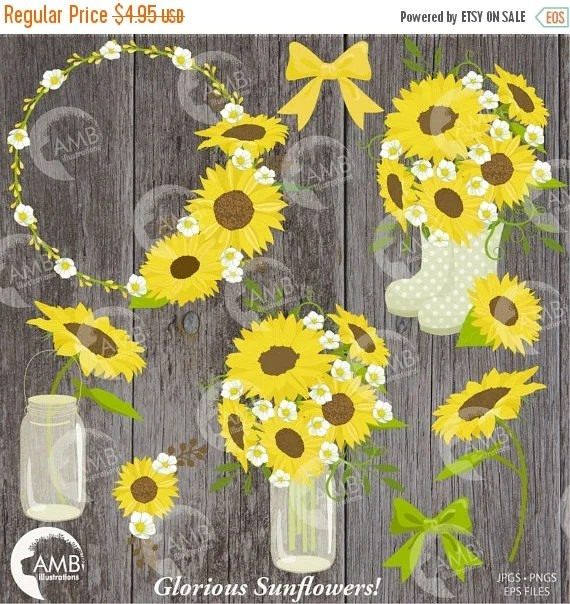 sunflower clipart wedding