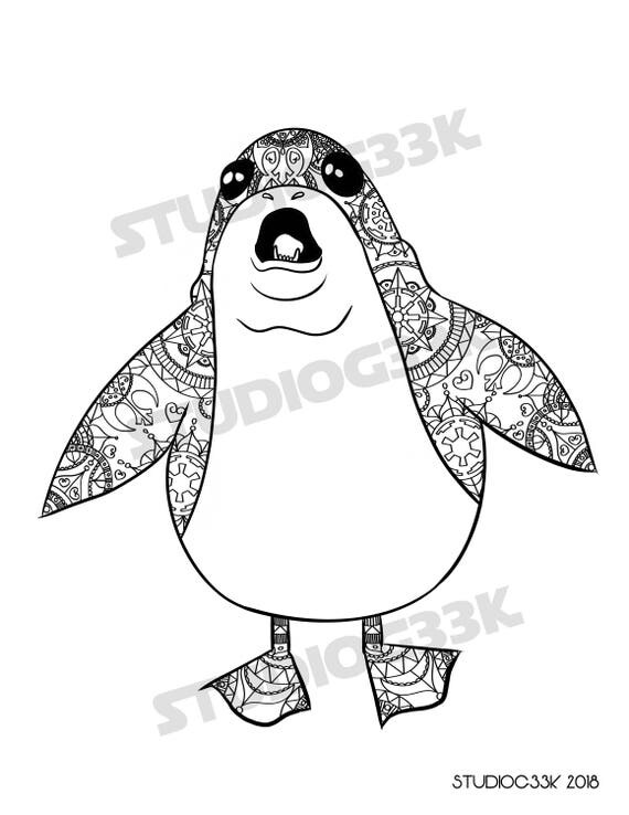Digital Star Wars Porg Zentangle Printable Coloring Sheet