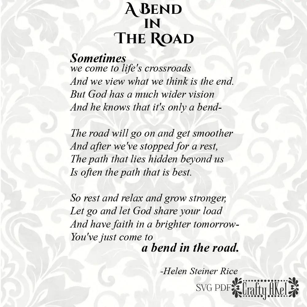 A Bend in The Road Poem let go and let god svg SVG PDF