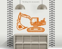 Construction Crane With Personalized Name Vinyl Wall Decal