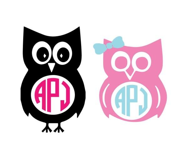 Owl Monogram Unique Animal Svg Dxf Eps Ai