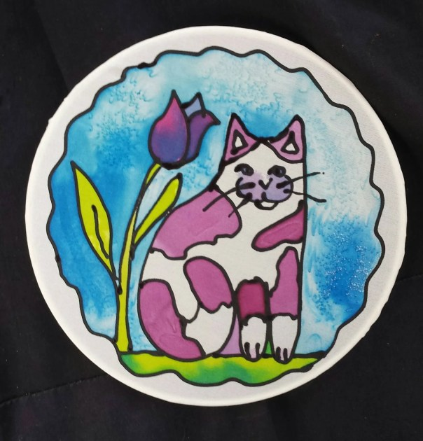 Abstract Cat window art, Suncatcher, Original hand painted silk art, Cute Kitty by artist, stained glass look, window art, purple & white