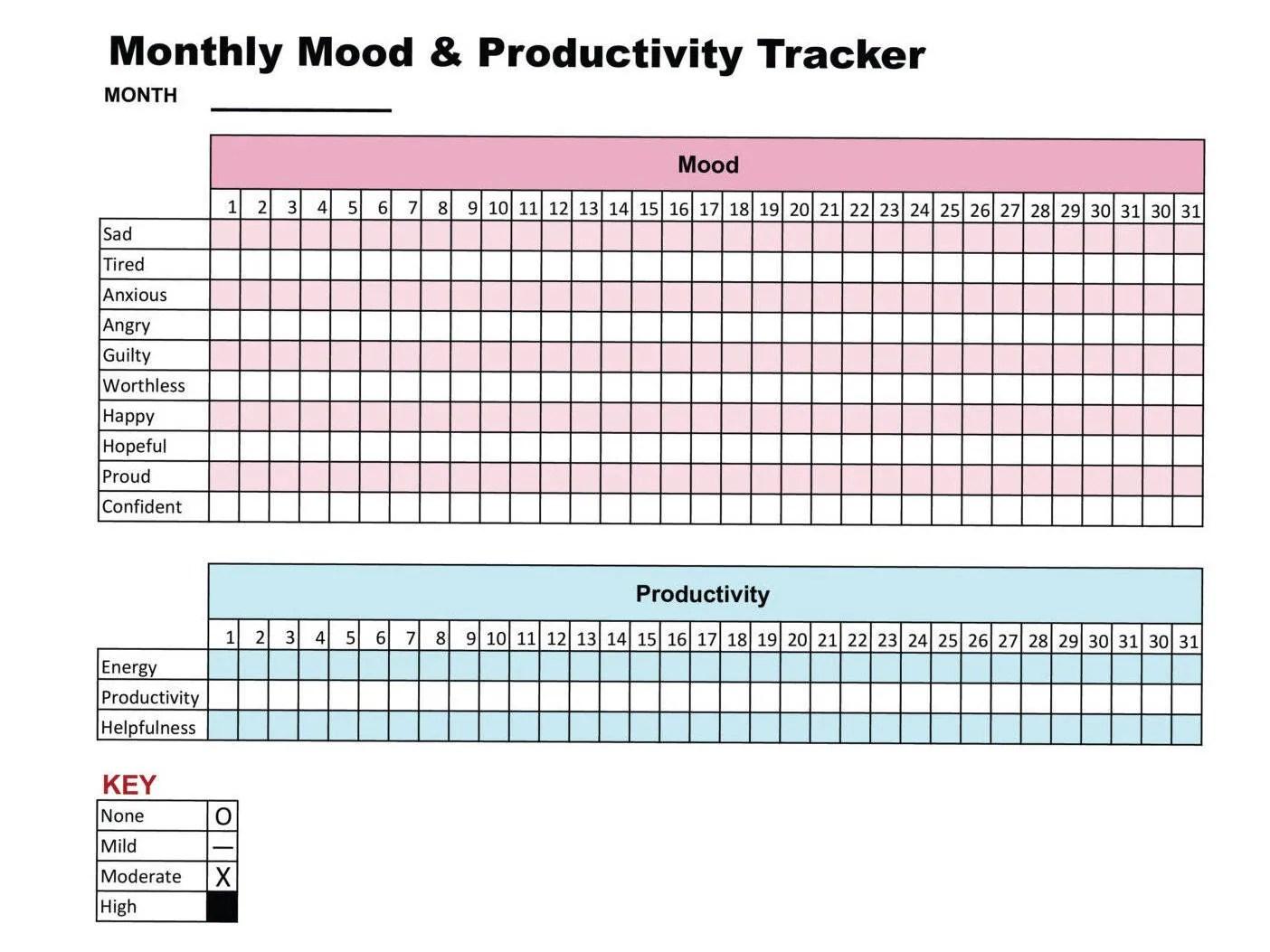 Mood Amp Productivity Tracker Printable Chart Journal Self Care
