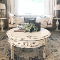 Coffee Table White Distressed Round Living Room Table