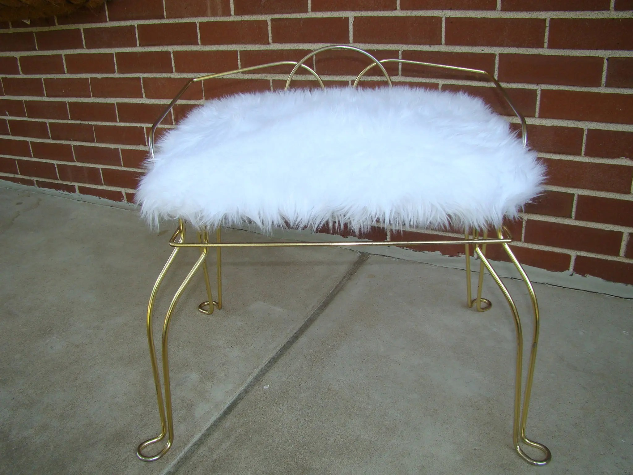 vanity chair white fur covers doncaster vintage with soft