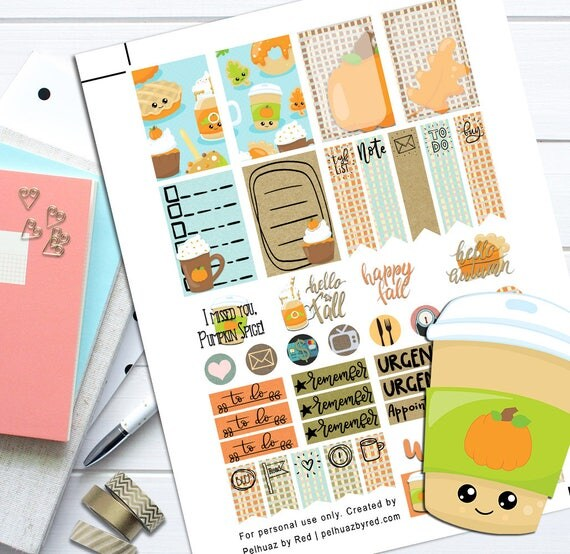 Pumpkin Spice Printable Sticker Kit by Pehluaz Planner on Etsy