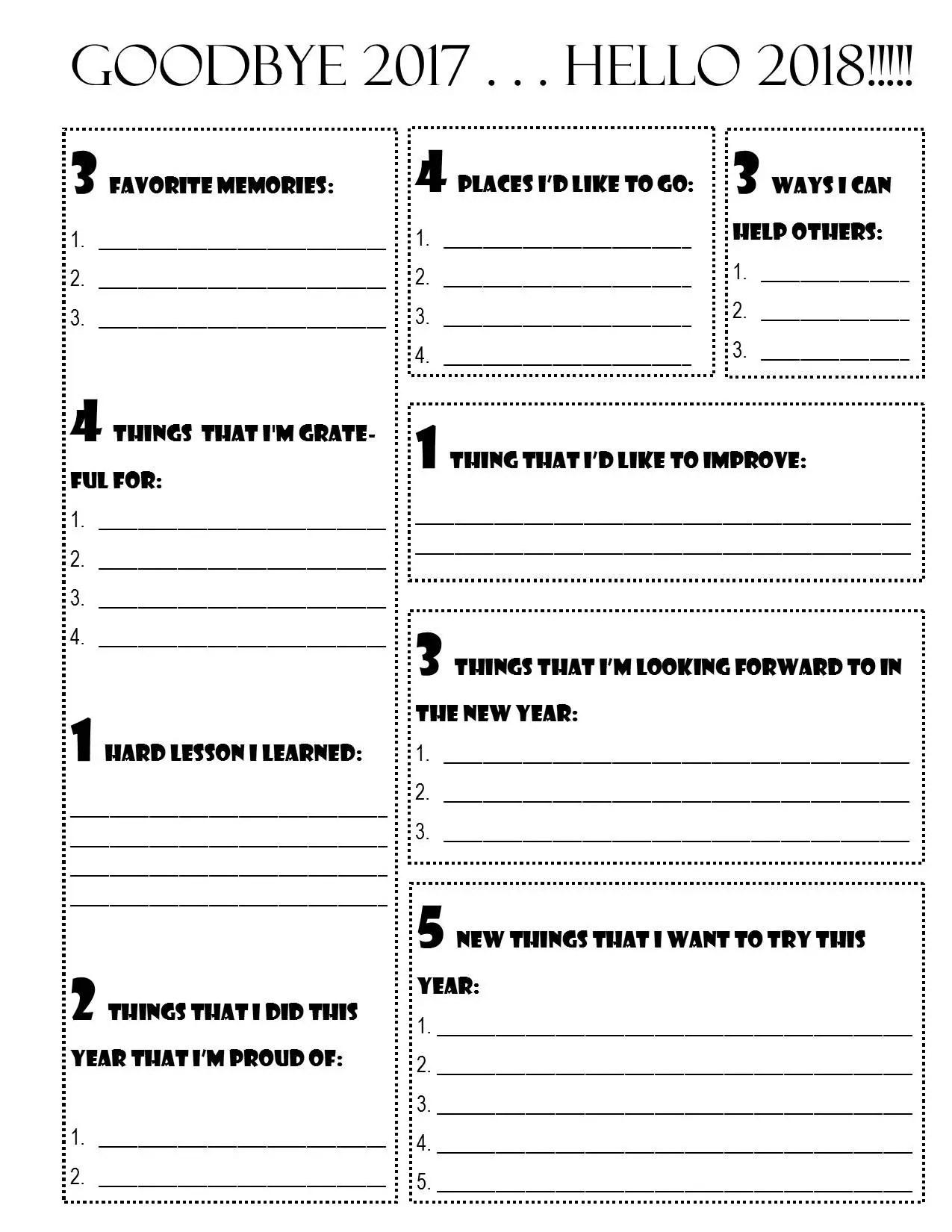 Goodbye Hello New Year Goal Planner Printable