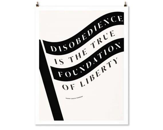 Literary art prints Henry David Thoreau Political Poster