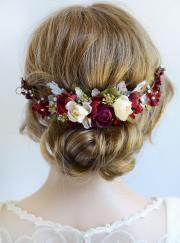 burgundy headpiece floral hair