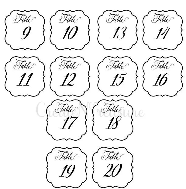 Wedding Table Numbers svg, Table Numbers template svg