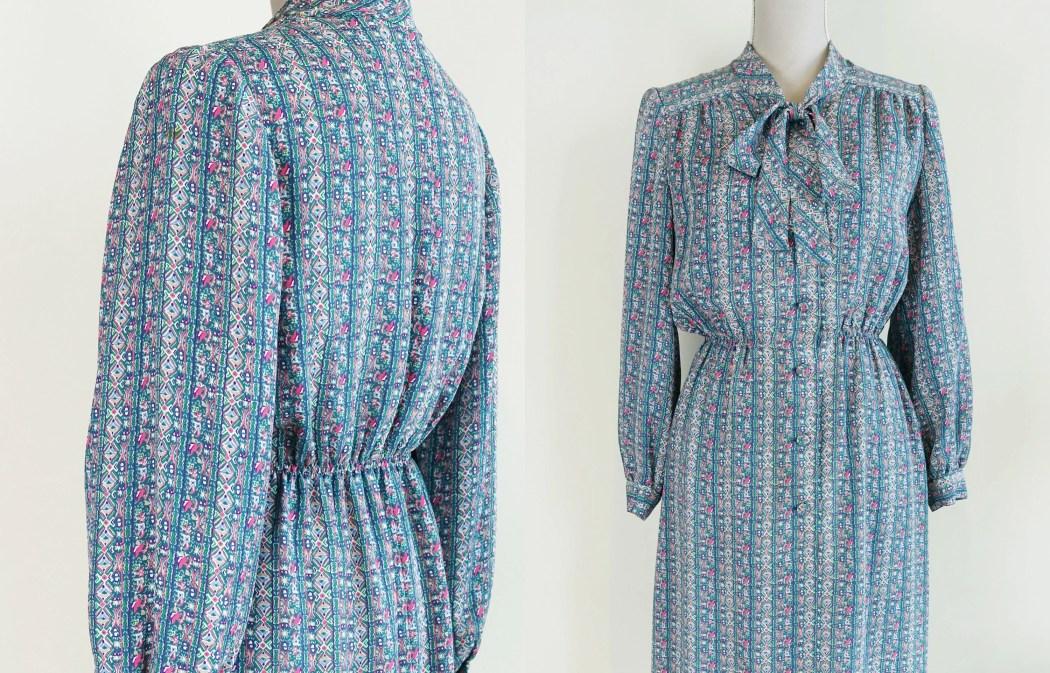 80s Pussybow Midi Dress -...