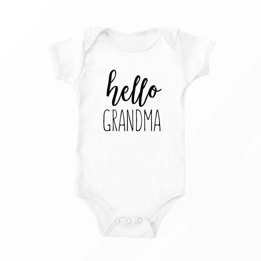 Hello Grandma Pregnancy Announcement Onesie Hand Lettered