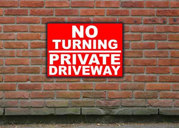 Turning Private Driveway Sign Outdoor & Waterproof