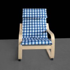Ikea Children's Chair Covers Dining Chairs Walmart Blue Buffalo Check Pattern Kids Poang Cover Ready