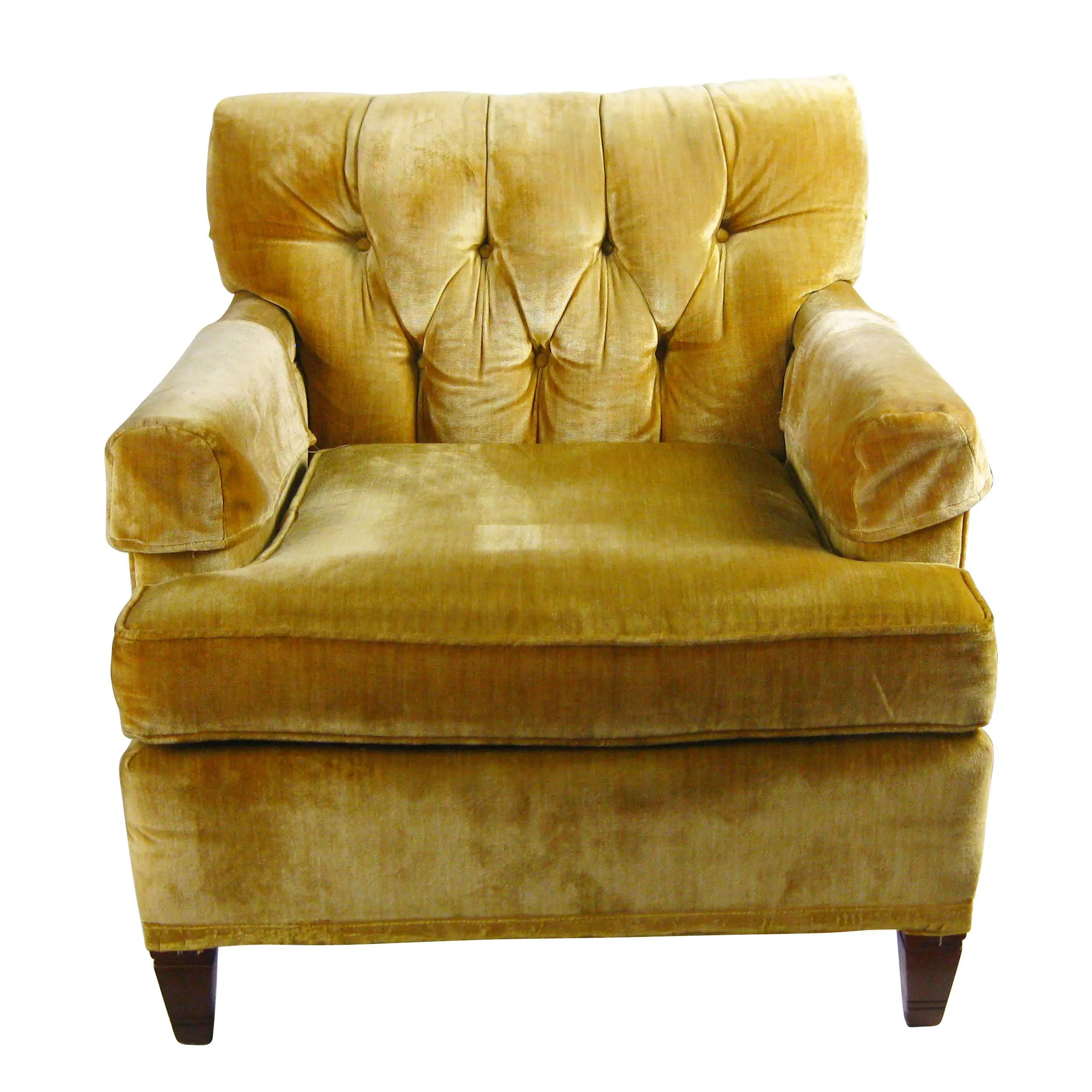 Vintage North Hickory Furniture Company Yellow Gold Tufted