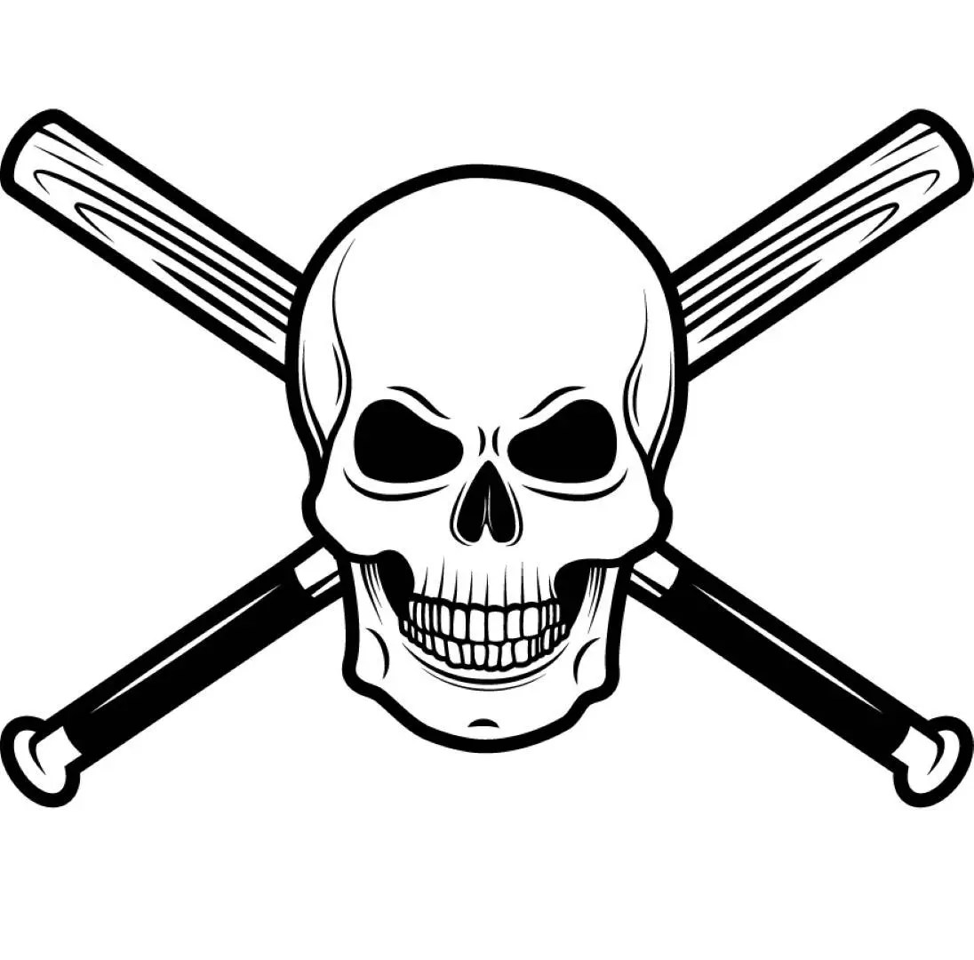 Baseball Logo 1 Skull Wood Stick Bat Crossed Ball Sports
