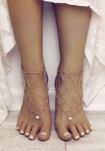 Gold Chained Barefoot Sandals With Ivory Pearl Bohemian Foot