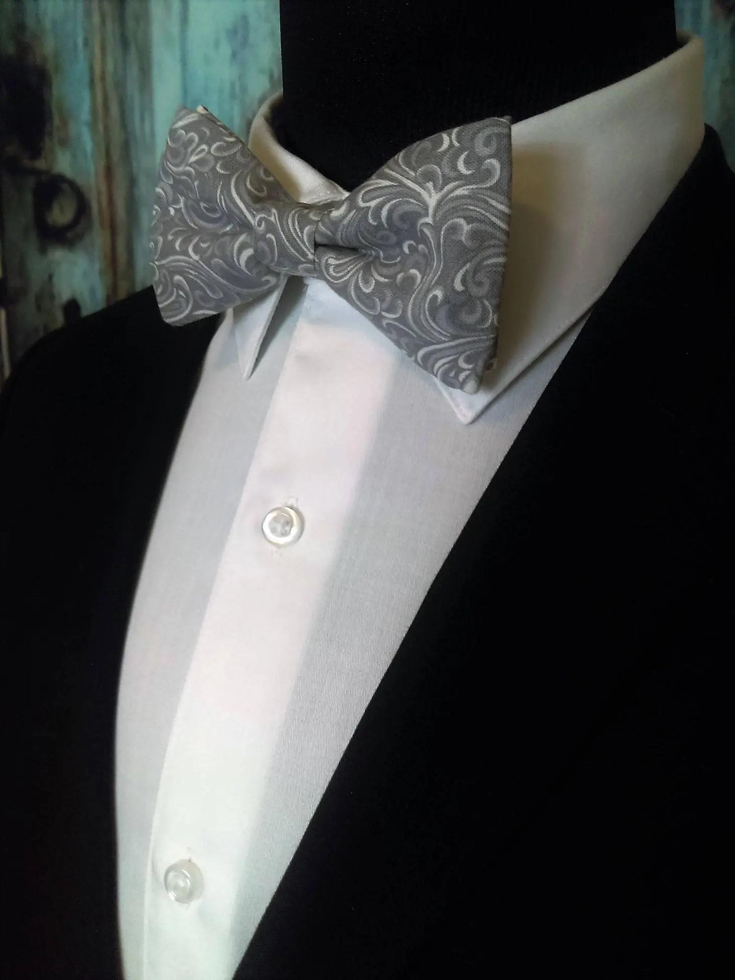 Grey Bow Tie, Grey Bowtie, Gray Bow Tie, Gray Bowtie, Mens