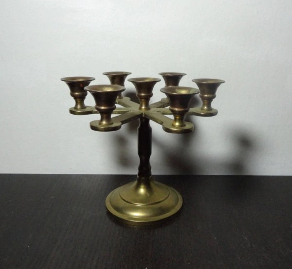 Vintage Small Brass Candelabra With 7 Candle Holders