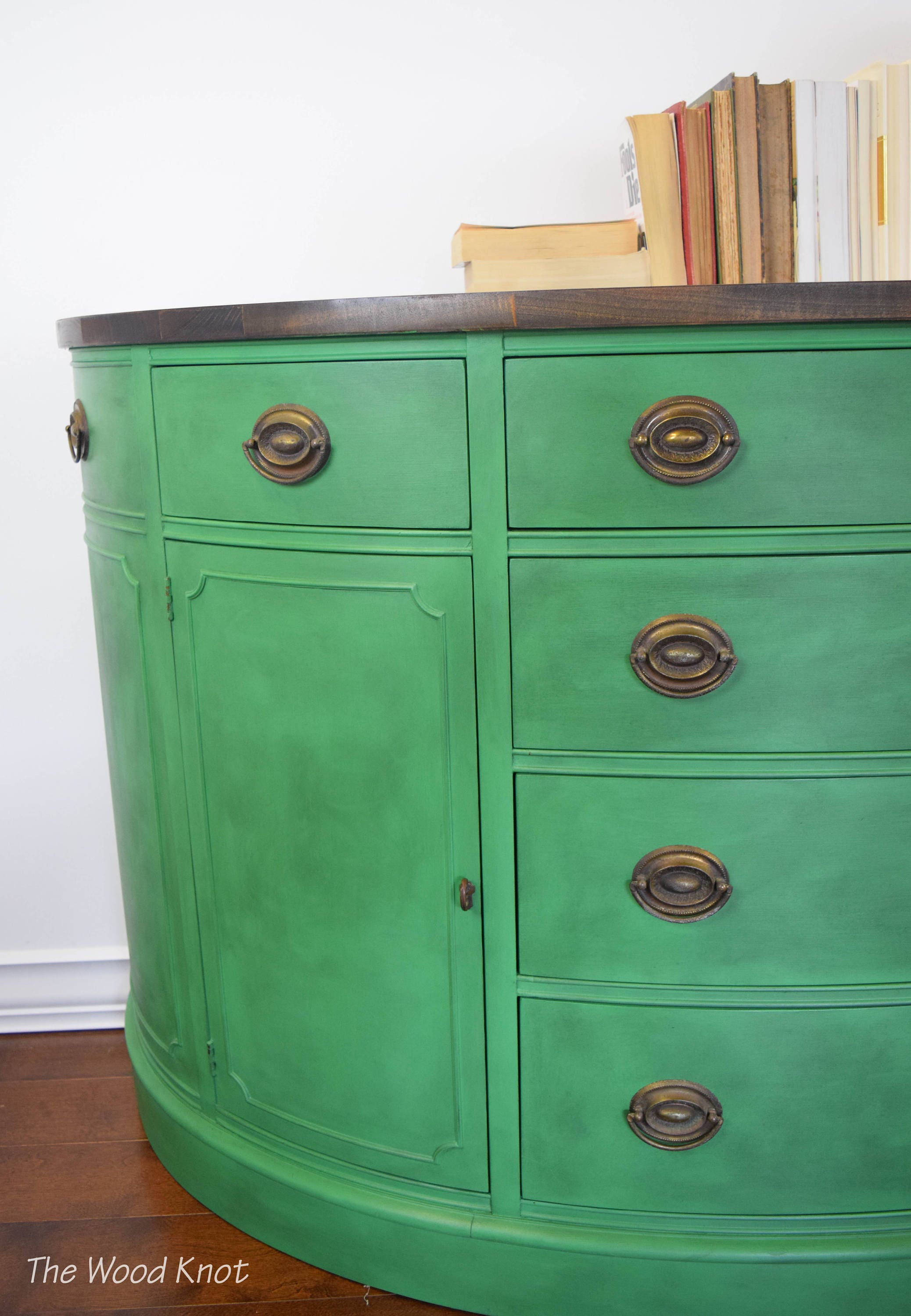 Sideboard Green Chalk Paint And Wood Stained Antique Drexel
