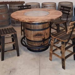 Whiskey Barrel Pub Table And Chairs Gym Equipment Chair Jack Daniels With 4 Stave