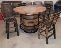 Jack Daniels Whiskey Barrel Table with 4 Stave Chairs and