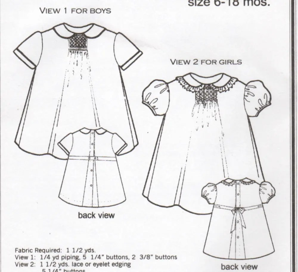Baby Smocked Dress pattern vintage Heirloom sewing pattern