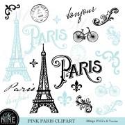 blue paris clip art theme