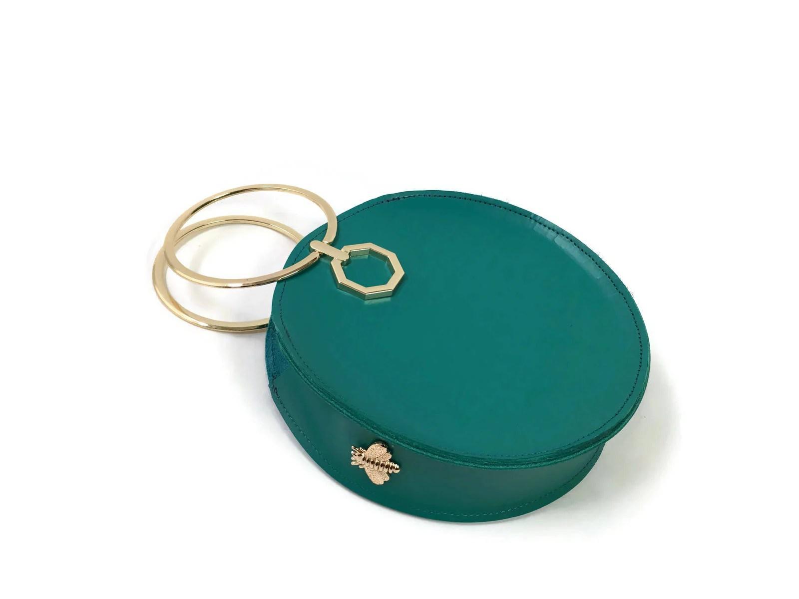 Aureole Bracelet Bag In Teal Structured Wristlet Clutch