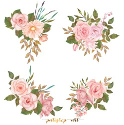 blush clipart flower rose watercolor bouquet leaves painted a15 commercial use hand