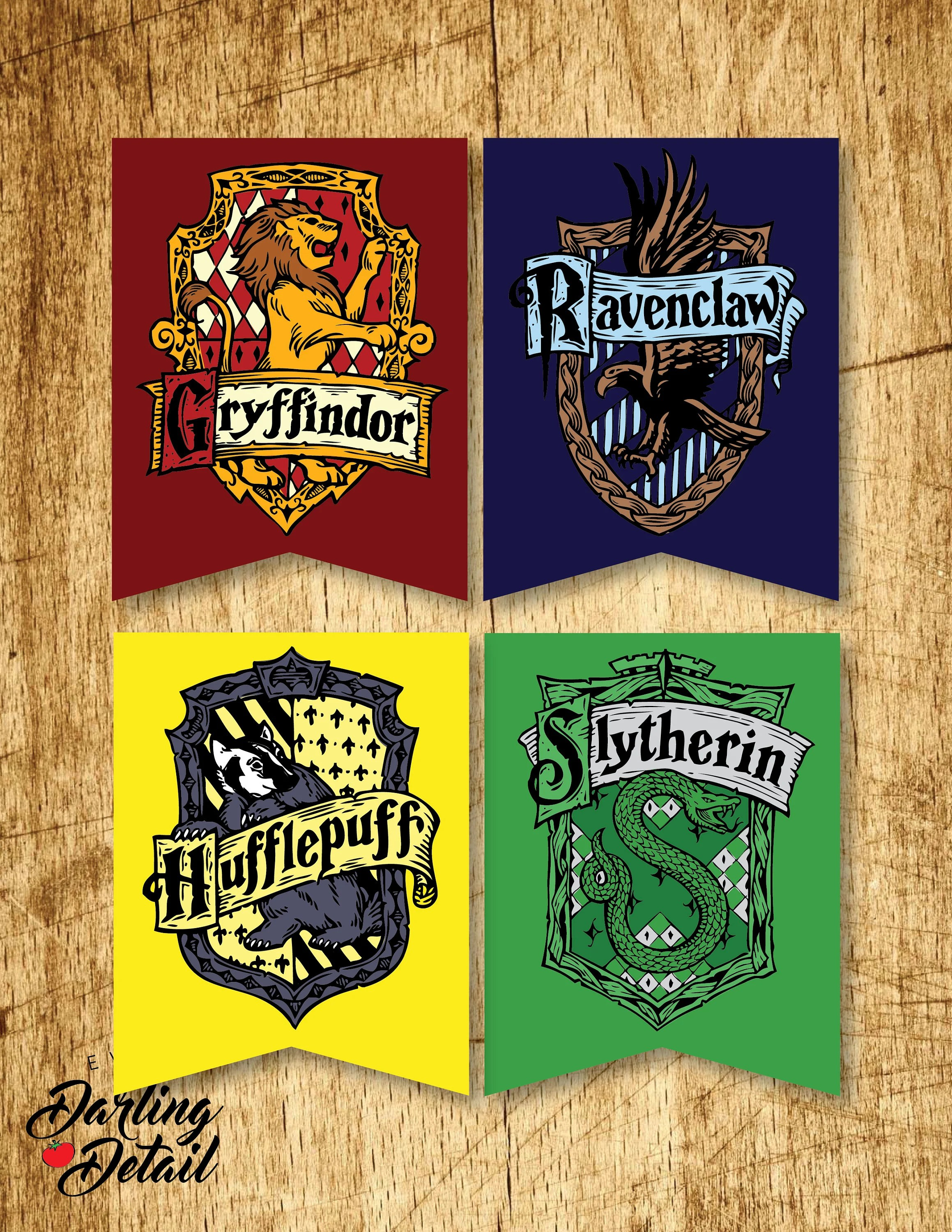 Harry Potter Printable Hogwarts House Crest Banners