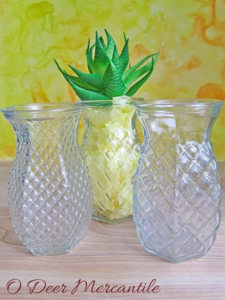 Pineapple Shape Vases: Set of Three Clear Pressed Glass Vessels for Floral Display Centerpiece Shower or Wedding