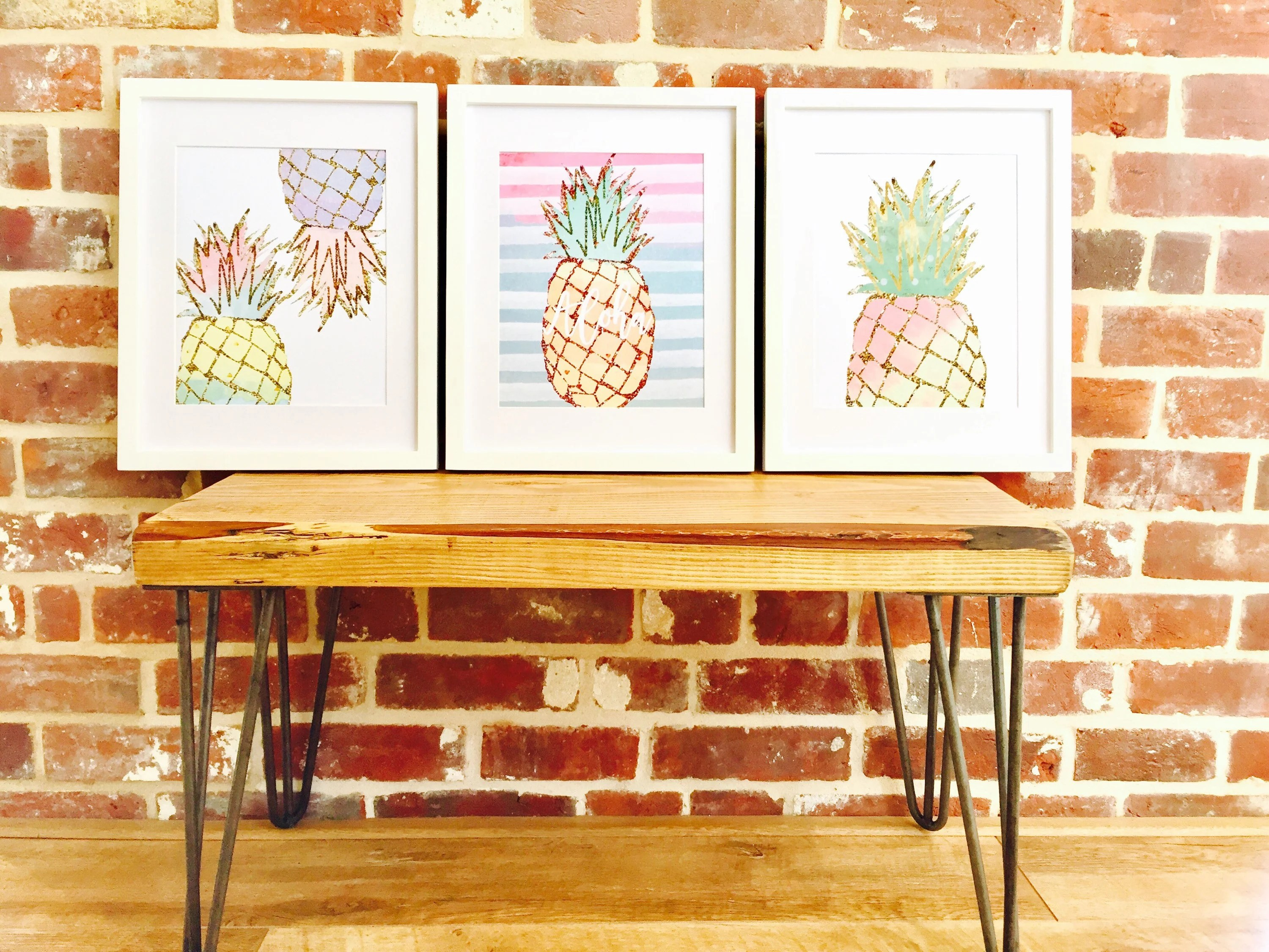 pineapple decorations for kitchen white table set prints of 3 tropical theme decor