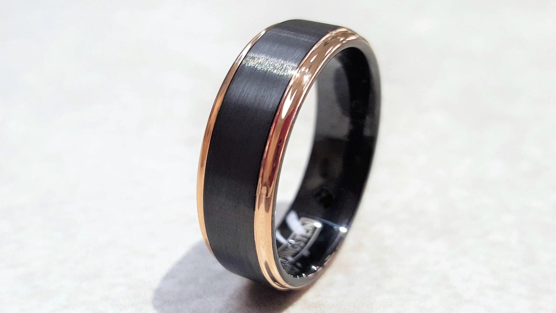 Wolfram Ring Herren Wolfram Hochzeit Band schwarze Wolfram