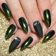 chrome acrylic nails crystal fake