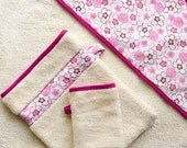 Eco Apron Hooded Towel with Honeysuckle Pink Flowers, Organic cotton and Bamboo Baby Towel