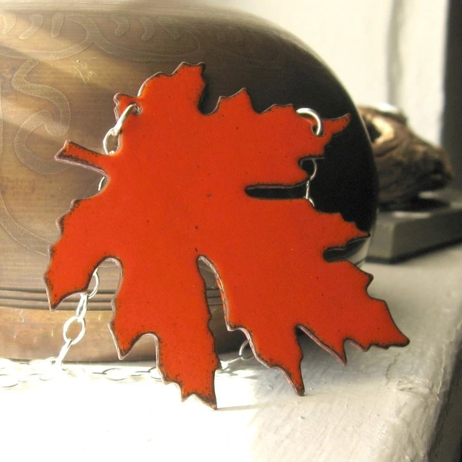Autumn Maple Leaf - Handmade Orange Enamel Leaf Pendant and Sterling Silver Chain