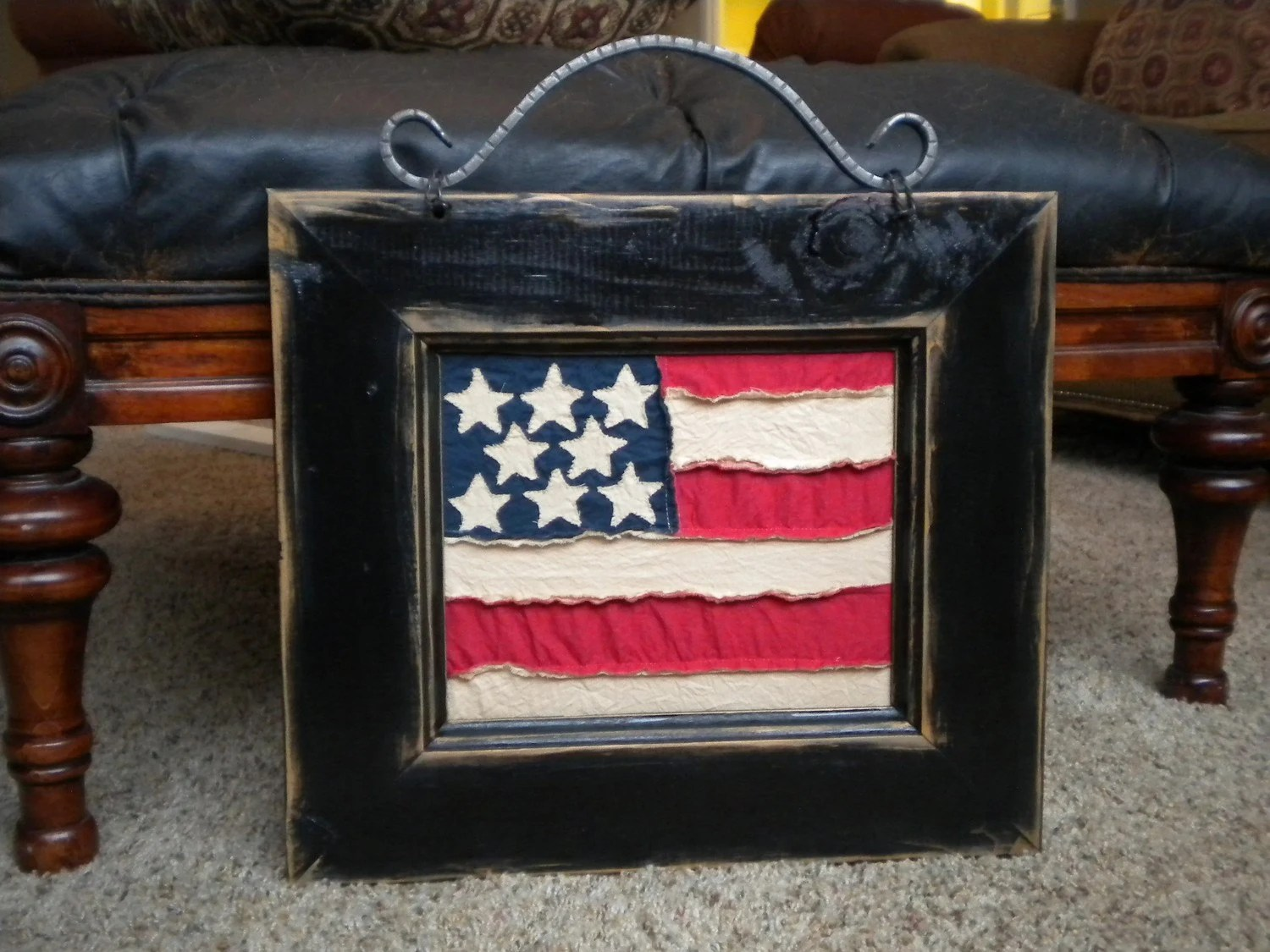 American Flag Wall Art in Black Frame -Primitive Style - Home Decor