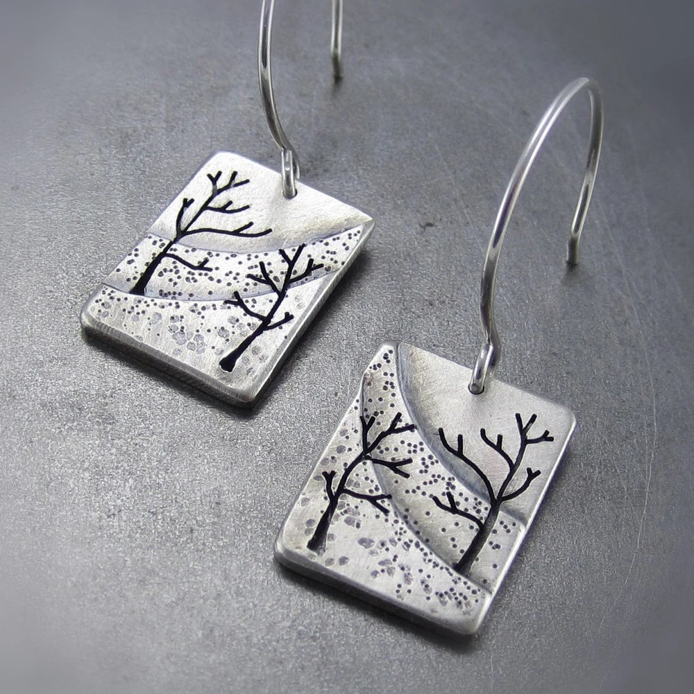 Small Northern Slope Silver Tree Earrings