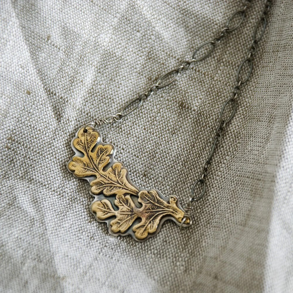 Double Oak Leaf Necklace - AnnaBeauDesigns