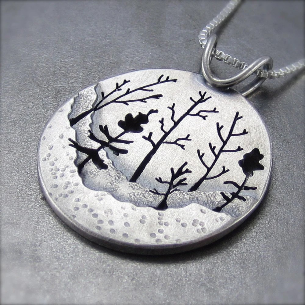 Woodland Forest Silver Tree Pendant no.2
