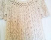 SALE - Half Price - Crocheted Organic Cotton Shell Lacy Top - Woman Size UK 12-14 aka US 10-12 - Ready to Ship