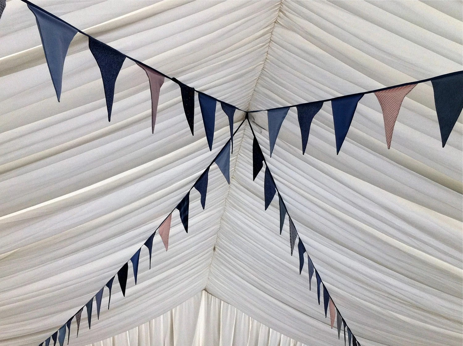 Marquee Wedding Decoration Bunting in Soft Blues, Violets and Creams - 29 Feet Length