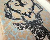 Gocco Screenprint Moleskine Journal - Filigree Heart Deer - Sky Blue - Limited Edition -