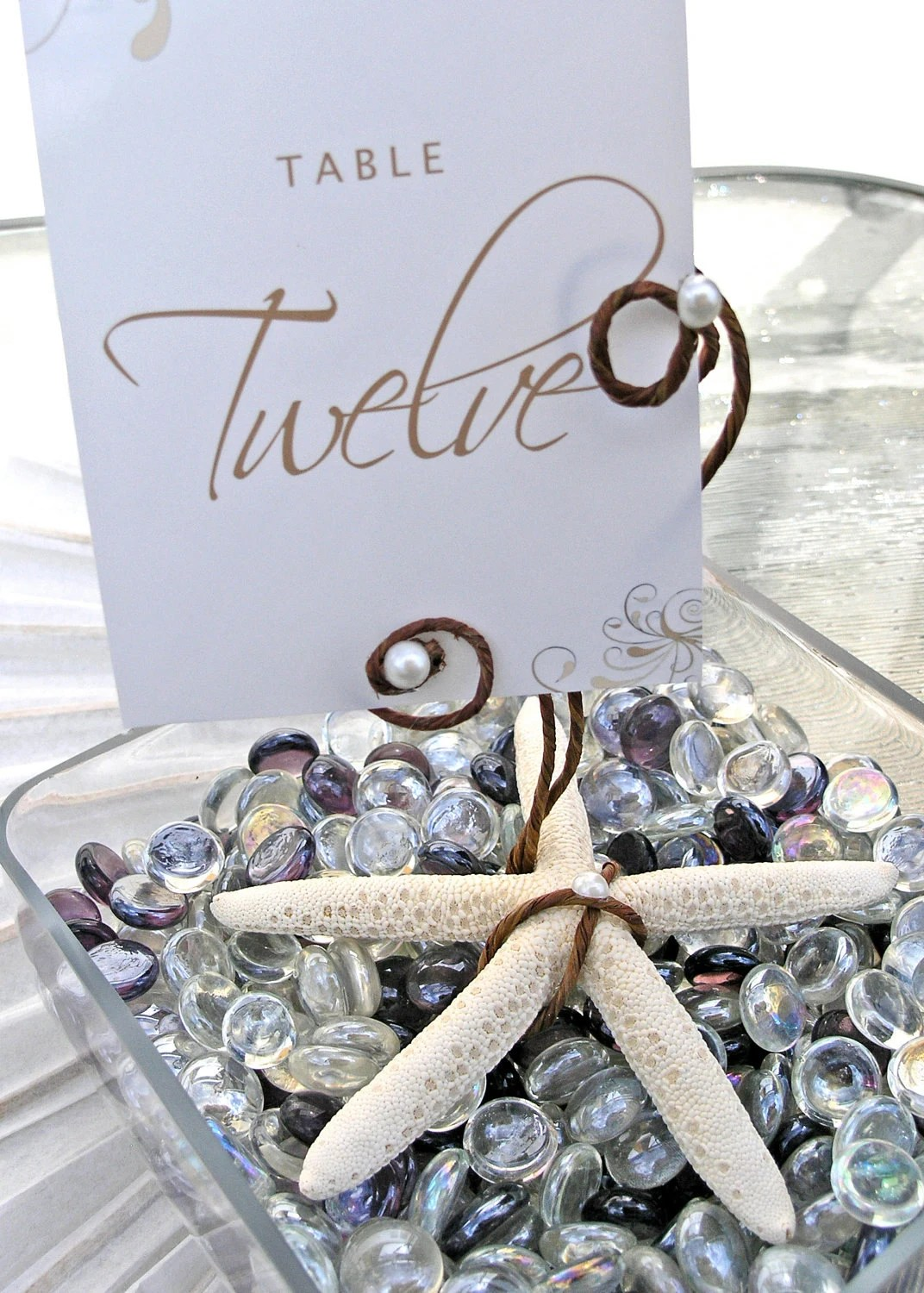 12 Pearl Starfish Beach Table Number Holder Wedding Favor Decoration - ExpressionsFloral